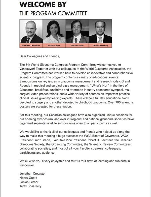 Codirector del Programa Cientifico del Congreso Mundial de Glaucoma